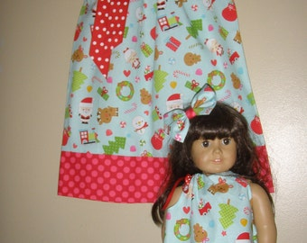 dress Christmas doll and me  matching  American Girl Doll  pillowcase dress 12,18 months 2t, 3t, 4t, 5t,6,7,8,10,12
