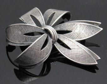Sterling Ribbon Brooch Germany Leaf Vintage Jewelry B7642