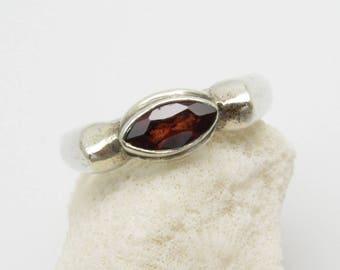 Sterling Garnet Ring Unique Vintage Jewelry X115