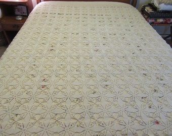 Vintage hand made cotton off white crocheted bed spread- nice condition, clean, ready to use on a bed in your home or cottage