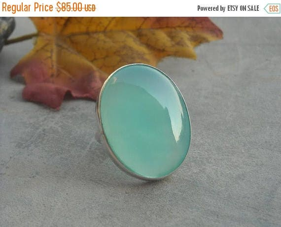 ON SALE Sea foam green ring - Oval ring - Cabochon ring - Bezel ring - Chalcedony ring - Natural gemstone - Gift for her
