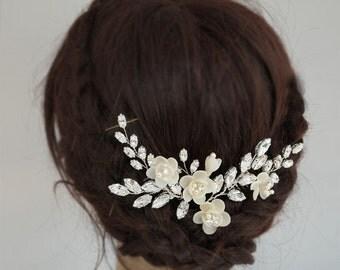 Flower Wedding Headpieces, Bridal Hair Comb, Floral Hair Comb, Crystal Hair Vines, Rhinestone Hair Pieces, Hochzeit Haar Kamm
