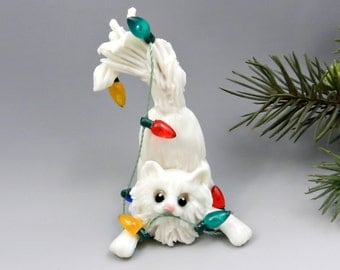 White Cat Persian Angora Christmas Ornament Figurine Lights Porcelain