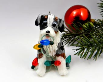 Australian Shepherd Blue Merle Christmas Ornament Figurine Lights Porcelain