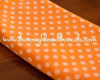 Orange Polka Dots- Vintage Fabric Whimsical Novelty New Old Stock 70s Adorable