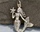 Mermaid Holding a Starfish Necklace - Solid 925 Sterling Silver Aquatic Creature Pendant - Insurance Included