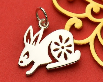 The Rabbit Necklace - Solid 925 Sterling Silver Chinese Zodiac Year of the Rabbit Charm - Insurance Included
