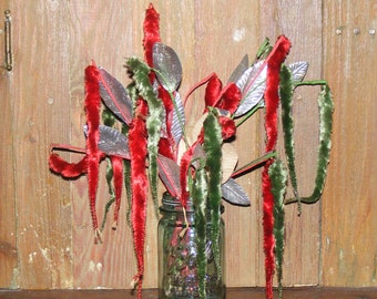 SALE Vintage Rare Green and Red Chenille Cattail Flower Tails and Silver Foil Leaf Leaves Stem Picks Lot