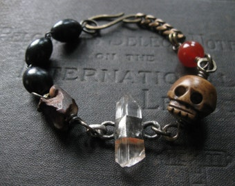 Grimly No. 4 - Grumpy Carved Bone Skull With Stones and Antique Rosary Beads Bracelet