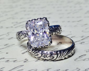 Vivianna Duo - Vintage Inspired Beautiful Sterling Silver Ring Floral Ring with Tiara Bezel and Radiant Emerald cut CZ