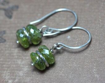 Peridot Earrings Green Gemstone Earrings Sterling Silver Rustic Jewelry