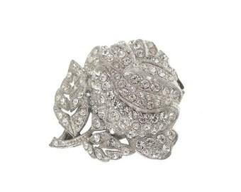 Art Nouveau Vintage Brooch Dress Clip, Floral Rhinestone Clip, Antique 1910 Art Nouveau Jewelry, Wedding Jewelry