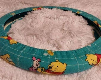 NEW! Winnie the Pooh & Piglet *  Steering Wheel Cover * Seat Belt Cover * Fully Lined All-Weather * Blue Green Teal Bear Pig