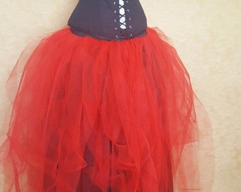 """EXTRA 75% OFF BLACK Friday Sale Red Full Length Gown Bridal Tutu-To Fit Up To A 34"""" Waist"""