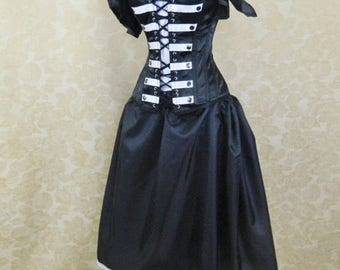 Solid Black Midi Length Pirate Skirt-One Size Fits All