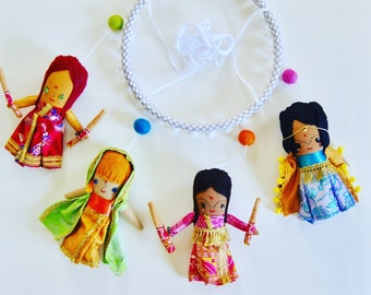 Multicultural Mobile of Little Dancing Girls in Saris //  Perfect Gift // Handmade Unique One-of-a-kind