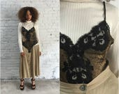 vintage gold lurex sheer bodysuit / black lace lingerie one piece / 80s teddie / 1980s teddy