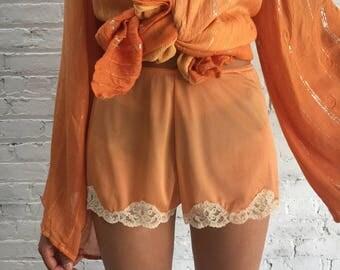vintage peach tap shorts / dusty orange lingerie slip bottoms with lace hem
