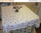 WINTER CLEARANCE SALE Vintage Tablecloth Pretty Pink Rosebuds