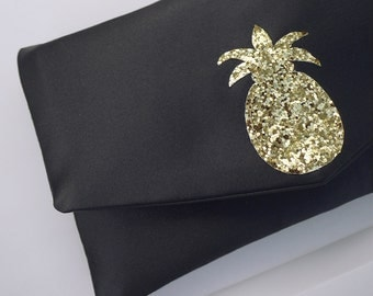 Pineapple glitter and satin small clutch purse - choose your colours