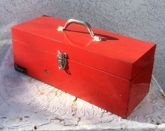 """Big Red Tool Box with Black Plastic Removable Liner, """"The Challenger"""""""