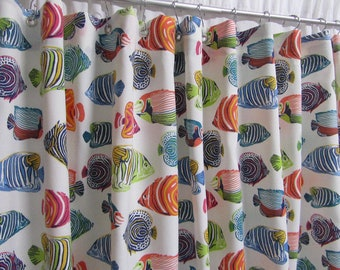 Fish Shower Curtain, Multi-Colored Shower Curtain, Bright Bathroom Decor, Kids' Shower Curtain, Beach Theme Shower Curtain