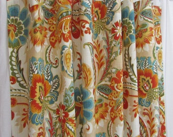 """Teal Orange Curtains, Bright Floral Curtains, Traditional Window Curtains, Teal Home Decor, Modern Custom Rod Pocket Drapes, One Pair 50""""W"""