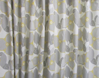 Amy Butler Fabric Shower Curtain, Grey Yellow Fabric Shower Curtain, Modern Floral Shower Curtain, Floral Bathroom Decor, Modern Bathroom