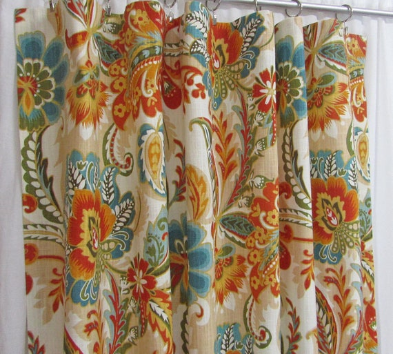 "Teal Orange Curtains, Bright Floral Curtains, Traditional Window Curtains, Teal Home Decor, Modern Custom Rod Pocket Drapes, One Pair 50""W"