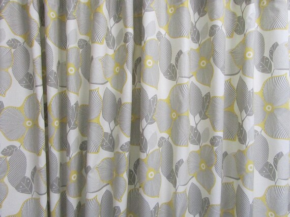 Grey Yellow Fabric Shower Curtain Amy Butler Fabric Shower