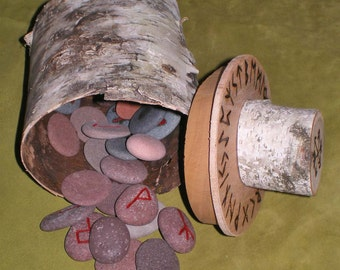 Lake Superior Beach Stone Rune Set and Birch Bark Casting Cup