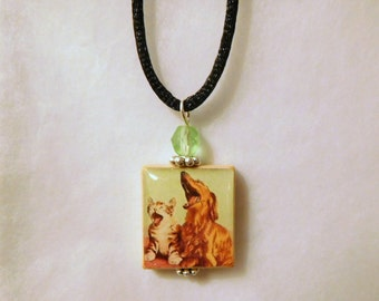 Dachshund and Cat Pendant / Scrabble Tile Jewelry / Beaded / Charm / UPCYCLED / Dog Lover Gifts - FUN