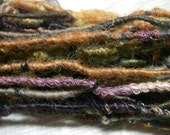 Handspun Corespun Worsted Weight Weaving Embellishment Art Yarn in Brown Gray Green Copper with Sparkle by KnoxFarmFiber