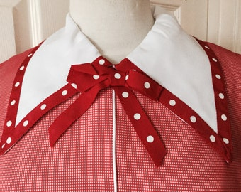 Vintage 60s Red Shift Rockabilly Dress White Polka Dot LARGE Never Worn With Tags Herman Marcus Dallas