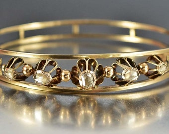 Antique Victorian Gold Diamond Bracelet, Rose Cut Diamond, 1800s Antique Jewelry, Gold Bangle Bracelet, Anniversary Gift