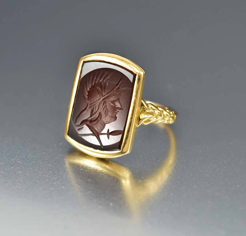 Gold Carnelian Intaglio Ring 14K Yellow Wax Seal Antique Roman Soldier