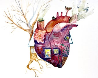 "Anatomical Heart Watercolor, Home Painting, Original Art 11""x15"""