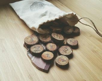 RUNES- Handmade Woodburned Rustic Rune Set