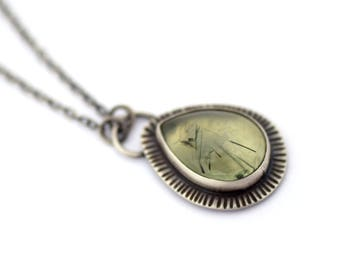Tourmalated Prehnite Necklace, Oxidized Silver Necklace, Industrial Jewelry Inspired By Space,  Sterling Silver Contemporary Jewelry