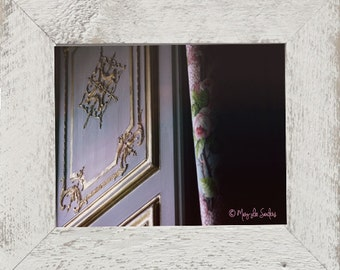 Versailles window detail, fabric with roses and sculpted shutter details super for your castle