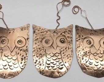 Holiday Ornaments. Tree Ornaments. Bird Ornaments. Copper Owl Ornaments. BUY A BIRD.