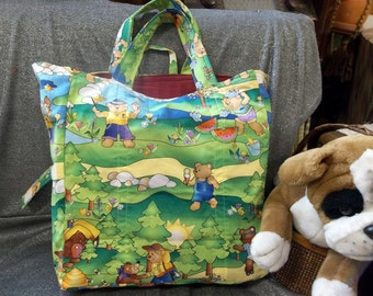 Cotton Shopping Tote Bag, Teddy N Friends Adventures Print