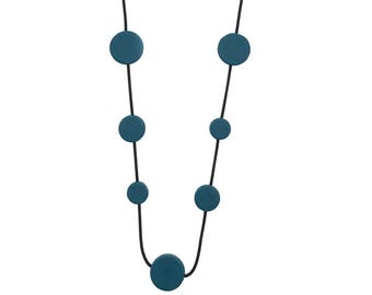 deep teal long necklace, mid century modern jewelry, travel resort wear
