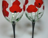 Red Poppy Wine Glass