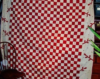 Antique Quilt Red White Checkered American Handmade Coverlet Applique