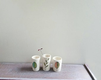Leaf vase, set of three leaf vase, orange, green and blue leaf, small ceramic vase, woodland home decor, fall leaf design.