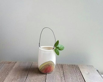 Wall vase with wire, small orange and yellow vase, hand drawn flower vase with spiral design, ceramic spring flower garden vase