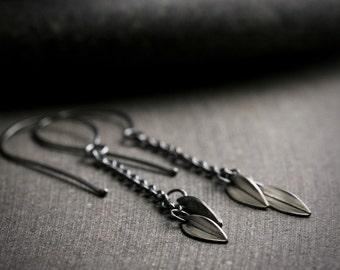 Botanical sterling silver leaf dangle drop earrings