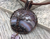 Violet Horizon Gemstone Tree of Life, Copper Wire Wrapped, Czech Glass, Leather Necklace, Ready to Ship