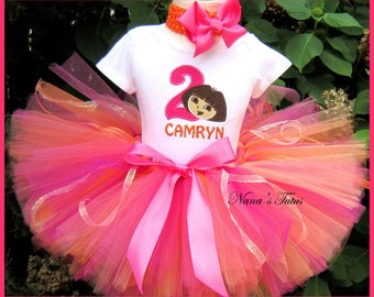 Birthday  Dora with Number, Party Outfit,Tutu Set, Dora Party, Theme  Parties in Sizes 1yr thru 4yrs